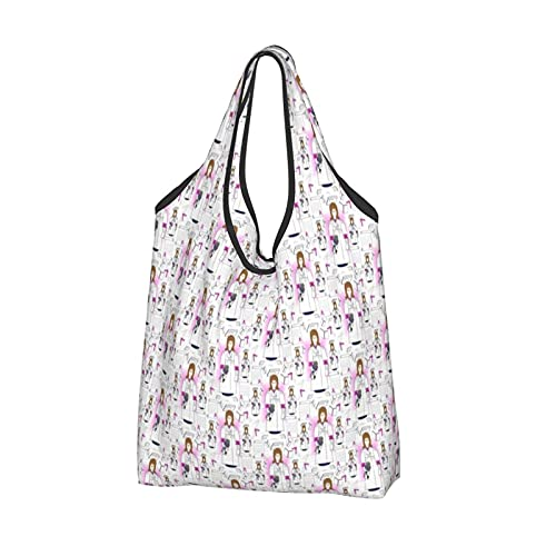 Shopping Bags for Women,Reusable Foldaway Eco Tote Shoulder Bags for Groceries Travel Picnic Storage and Practical for Daily Use-Anna Doll Graduation Diploma Cap Gown
