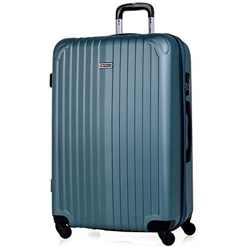 ITACA - Maleta de Viaje Grande XL rígida 4 Ruedas Trolley 76 cm de abs. Dura Extensible y Ligera. Gran Capacidad. Estudiante y Profesional. candado Integrado. t71570, Color Aguamarina