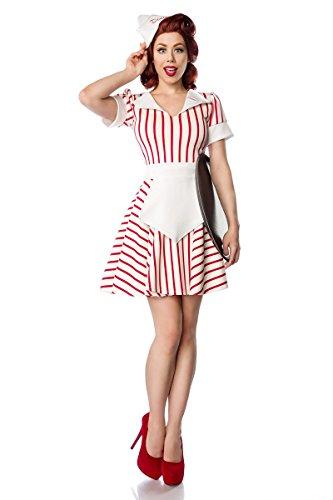 Mask Paradise Disfraz de disfraz 'Diner camarera' by Retro UniformeBandern Cuello Con Bordadoancha rmelumschlagSet: Vestido, delantal, gorro de frivolita80046 blanco, rojo 34