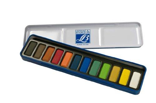 Lefranc Bourgeois - Caja metálica con 12 pastillas de acuarelas
