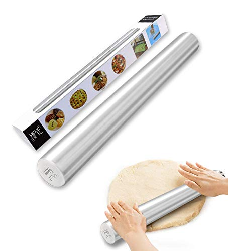 French Metal Baking Rolling Pin - 16' Stainless Steel Smooth, Light Weight Non-stick Dough Roller for Italian Bread, Pizza Crust, Cookie & Pastry by HIFYE