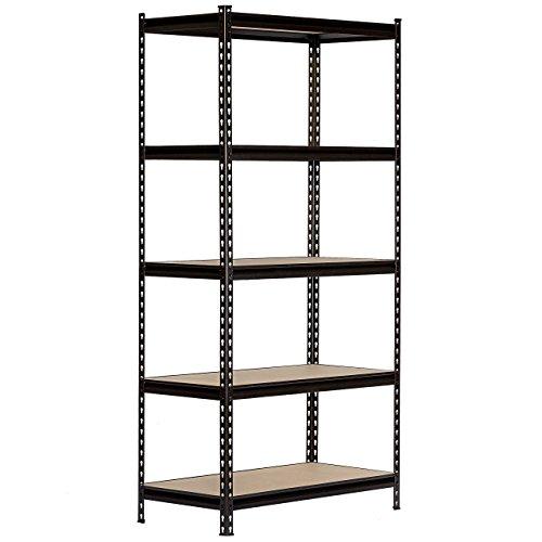 King's Rack 5 Layer Black Steel Storage Rack Boltless Shelving Unit Tier Layer Height Adjustable Shelf Organizer 30' W x 12' D x 60' H