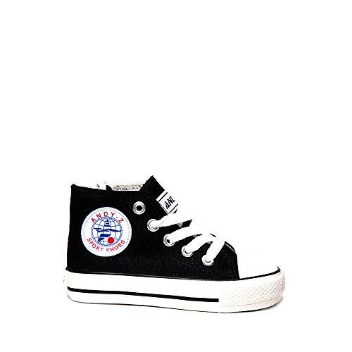 Zapatillas Lona Bota niño y niña Negro