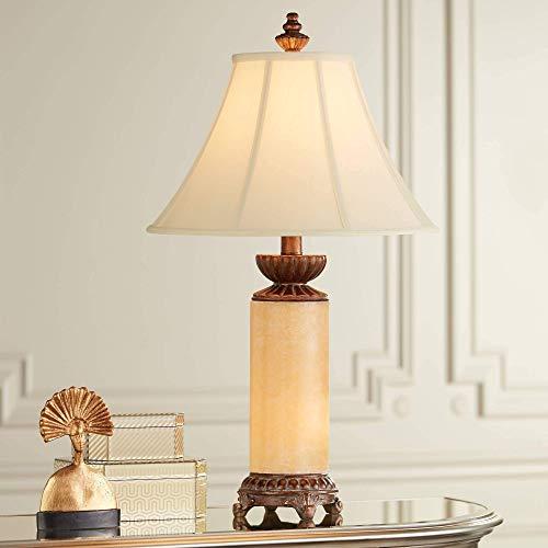 Lámpara Escritorio Lámpara de mesa tradicional con luz nocturna, columna de ónix de bronce, cierre de campana blanca, sombra de sombra de la sala de estar, dormitorio familiar, Barnes and Ivy