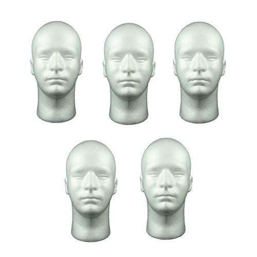 N/A 5 Pièces Mannequin Homme Mousse De Polystyrène 20 Pouces Hommes Mannequin Tête Modèle Perruque Lunettes Chapeau Casque Présentoir