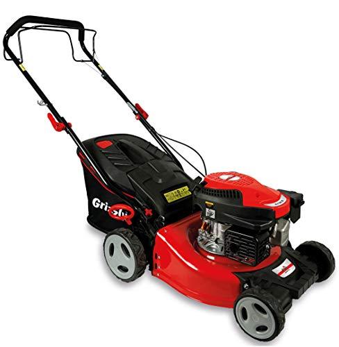 Grizzly Benzin-Rasenmäher BRM 4615-22 A - Hinterradantrieb - 46 cm Schnittbreite - Stahlgehäuse - Wasserschlauchanschluß, Hardtop-Fangsack 50 ltr - Euro 5-2,2 KW, 3 PS