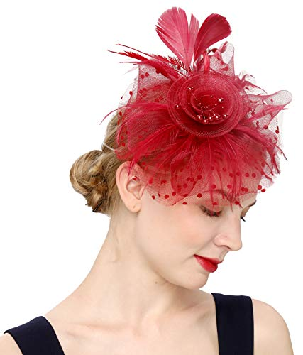 Fascinators Hat for Women Tea Party Headband Kentucky Derby Wedding Flower Cocktail Mesh Feathers Hair Clip(1-burgundy)