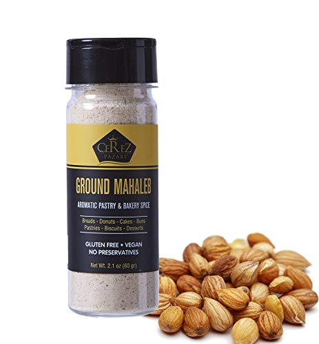 Cerez Pazari Ground Mahlab (Mahlepi - Mahaleb- Mahlep) Mahleb Ground, %100 Natural, Premium Quality, No Additives or Preservatives, Aromatic Traditional Spice for Pastry and Baking 60 gr- 2.1 Oz