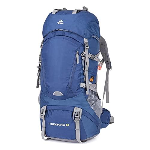 hongrenamz Zaino da Trekking Leggero Impermeabile da 60 Litri Copertura Antipioggia Zaino da Campeggio Touring Climbing per Viaggi Sportivi all'aperto Blue-60L