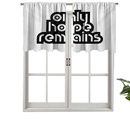 """Cortina opaca corta con bolsillo para barra, diseño de mensaje inspirador con texto en inglés """"Hope Remains"""" (2 unidades, 137 x 91 cm)"""