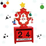 YUDIAN Calendario de Cuenta Regresiva de Navidad de Madera Calendario de Mesa de Navidad Calendario temático de Navidad Calendario de Cuenta Regresiva de Adviento de Navidad Adorno de Cuenta regres