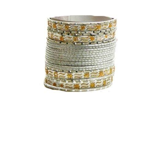 Indische Bangles 24 Armreifen Mahive Silber Gold 6,5 cm mit Bindis Bollywood Sari Schmuck
