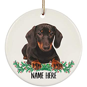 Lovesout Personalized Name Black and Tan Dachshund Christmas Tree Ornament Circle Ceramic