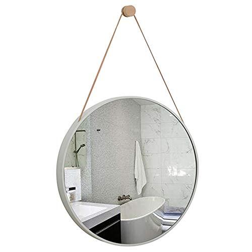 DH JINGZI - Miroir de maquillage Miroir Tenture murale corde cadre en bois crochet salle de bains décoration salon maquillage art rond miroir de maquillage