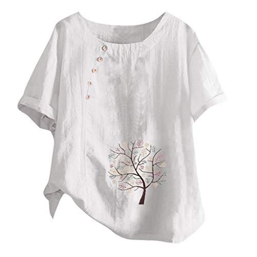 MOTOCO Damen Modisch Bedrucktes T-Shirt Lässige Lose O-Ausschnitt Kurzarm Tops Bluse Übergröße(XL.Weiß)