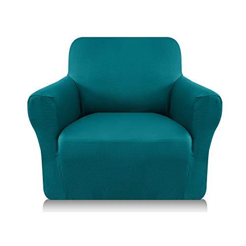 Granbest Funda de sofá gruesa 1 pieza funda extensible 1 plaza antideslizante para sofá Protector de muebles, tejido de Spandex Jacquard (1 plaza, azul-verde)