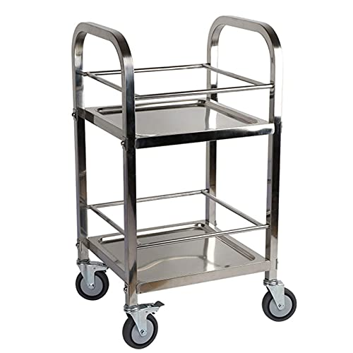 N/Z Home Equipment Silver Bar Cart 2 Shelf Shelving Units on Wheels...
