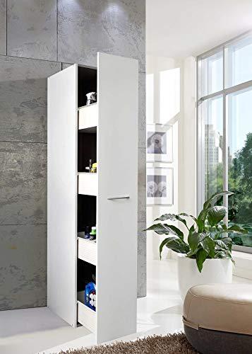 lifestyle4living Apothekerschrank weiß mit Auszug, Hochschrank mit 4 Einteilungen, moderner Multifunktionsschrank mit viel Stauraum, Aufbewahrungsschrank 30 cm breit