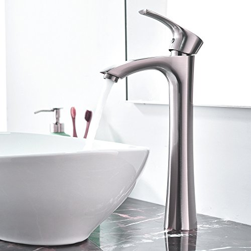 KINGO HOME Contemporary Single Handle Tall Vessel Sink Brushed Nickel Vanity Bathroom Faucet