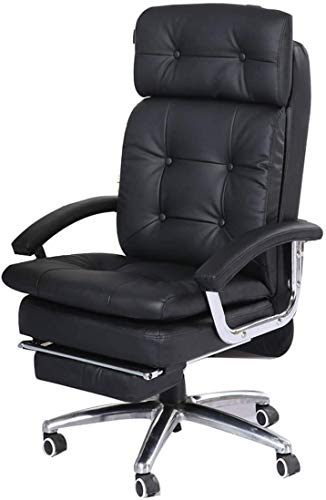 Armchairs GSN Ergonomic Office Chair,PU Leather Recliner 360 Degree Rotate Adjustable Height Synchro Tilt Mechanism with Footrest Office Chair (Size : Black)