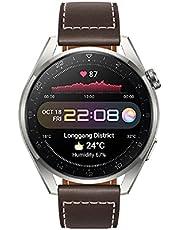 HUAWEI WATCH 3 Pro - 4G verbonden smartwatch met de hele dag gezondheidsmonitoring, onafhankelijk bellen, 24/7 SpO2 en hartslagbewaking, ingebouwde GPS, tot 21 dagen batterijduur, bruin leer