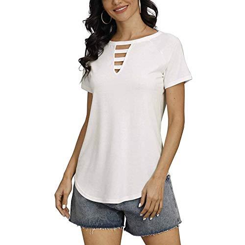 FOTBIMK Camisetas de algodón de cuello redondo para mujer, cuello redondo corto, color sólido, manga corta, casual, todo a juego.