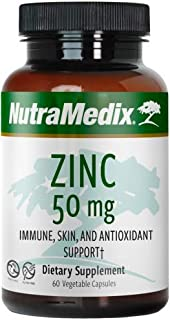 NutraMedix Zinc 50mg - Zinc Supplement Capsules for Immune, Skin & Antioxidant Support - Bioavailable Zinc Chelate Bisglyc...