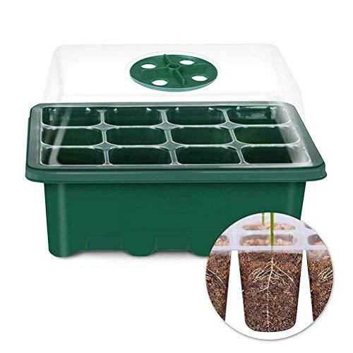 LAOZI Keimling-Statter-Tablett, 12-Loch-Samen und Stopfen, Kunststoff, Anzuchtschalen mit Deckel für Gewächshaus und Garten