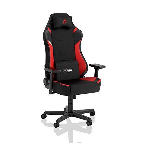 NITRO CONCEPTS X1000 Gaming Stuhl Bürostuhl Ergonomisch Schreibtischstuhl Drehstuhl mit Rollen Gaming Sessel Gaming Chair Pc Stoffbezug Belastbarkeit 135 Kilogramm - Schwarz/Rot