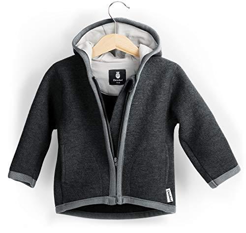 Ehrenkind® Walkjacke | Jacke für Kind aus Natur Schurwolle mit Reißverschluss | Walk Jacke für Baby | Schwarz Gr. 86/92