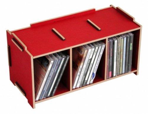 Werkhaus - Porta CD, in Pannello di Fibra a Media densità, Rosso, M