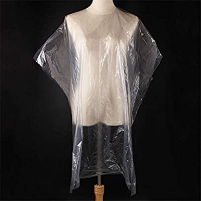 50Pcs Hair Salon Capes, Disposable Clear Hair Cutting Capes, Waterproof Haircut Cover Shampoo Barber Cape, Perfect for Home Barbershop and Salon Hairdressing, Hair Coloring, Perming