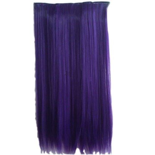 1-Pièce extensions cheveux Rajout cheveux épais Perruque longue,charmante prune