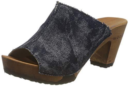 Woody Damen Elly Pantoletten, Blau (Ocean 087), 37 EU