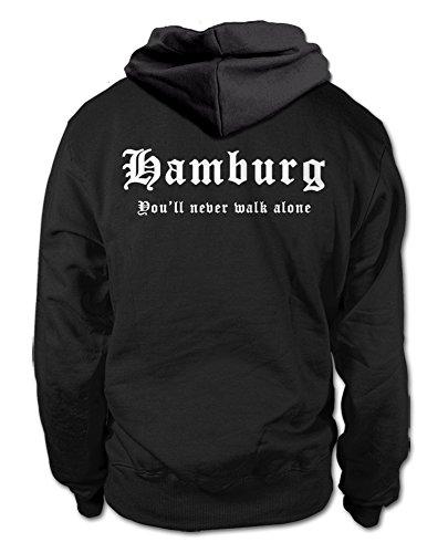shirtloge Hamburg - You'll Never Walk Alone - Fan Kapuzenpullover - Schwarz (Weiß) - Größe 3XL