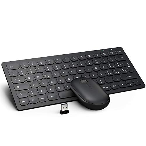 WisFox Set Tastiera e Mouse Senza Fili, 2.4GHz Silenzioso Slim Avanzato Combo Tastiera Mouse Wireless con Ricevitore Nano USB Tastiera Compatto per Tastiera e Mouse per Computer/PC/Laptop(Nero)