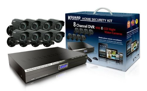 KGUARD SecurityInc. CA24-H03 (500G) Series 8-Channel H.264 DVR with 8x 420TVL CCD Camera, 500GB HDD Home Security Surveillance Kit (Black)