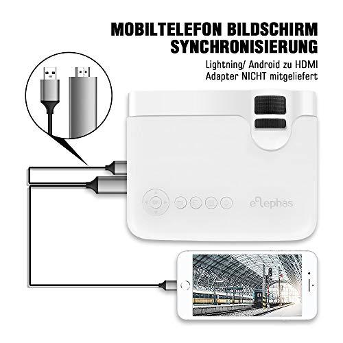 "Mini Beamer, ELEPHAS 4500 Lumen Tragbarer LED Projektor, unterstützt 1080P, Max 180 ""Display, 50000 Stunden Lampenlebensdauer, kompatibel mit USB / HD / SD / AV / VGA. MEHRWEG - 6"
