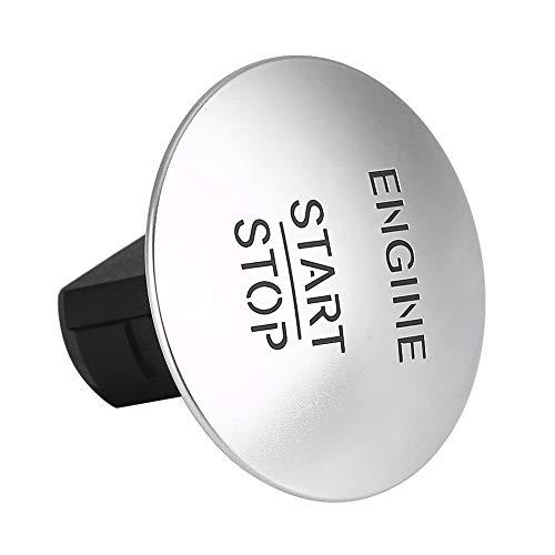 KSTE Motor Startknopf, Keyless Motor-Startknopf, Safe Lock Zündschloss, Kunststoff und Aluminium Material Start Stop Motor-Taste, for Mercedes 2215450714 Silber
