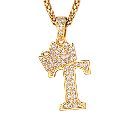 Iced Out Initial Necklace For Men, Crown Capital T Pendant & Resizable Wheat Chain(22'+2'), 18K Gold Plated Full Cubic Zirconia Alphabet Jewellery Bling Bling 26 Letter Necklace (Gift Packaging)