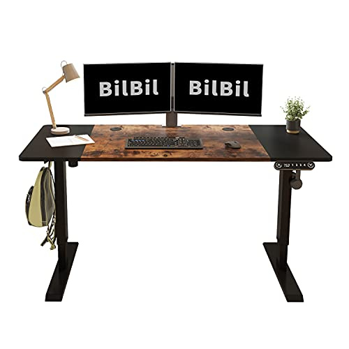 BilBil 55 x 24 Inches Height Adjustable Electric Standing Desk, Ergonomic Sit Stand Uplift Table with Anti-Collision Technology and Current Protection, Splice Board, Black Frame/Rustic Brown Top