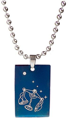 Kaltner Präsente Halsketting met sterrenbeeld, tweelingen, weegschaal, voor dames en heren, met hanger van roestvrij staal