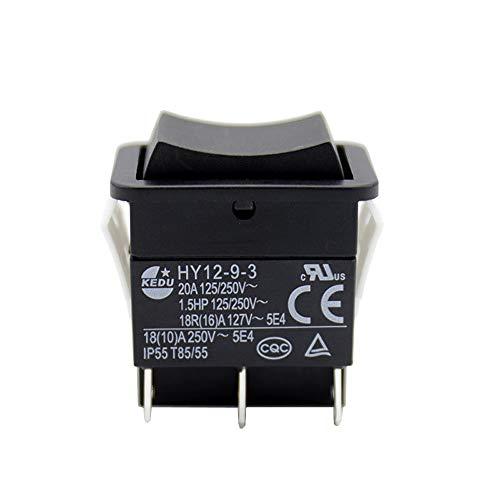 KEDU HY12-9-3 6Pins 125/250V 20/18/(10) A Tasterschalter für Elektrowerkzeuge. ON-OFF-ON Schiffsschalter mit Resetfunktion 2-pack