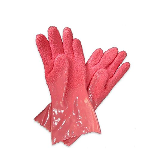 esowemsn A Pair of PVC Quick Fruit Vegetable Potato Processing Tools Rubber Peelers Gloves Kitchen Assistant Household Cleaning Accessories Gloves(Rose Red)