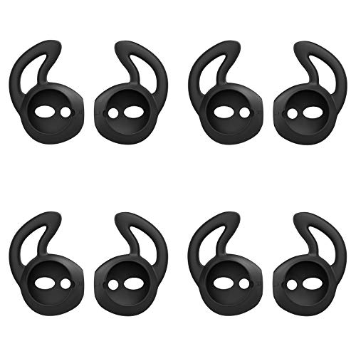 MoKo Almohadillas Auriculares Compatible con Apple AirPods/EarPods [4 PZS], Respuesto de Eartips de Silicona Suave Anti-Slip Gancho de Gel Auriculares Protectivos Accessorios - Negro
