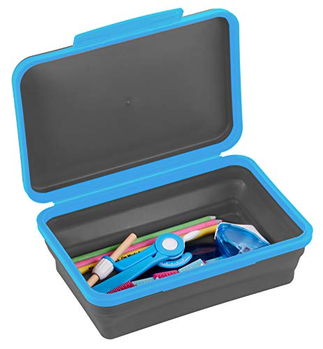 It's Academic Flexi Storage Box with Lid, Collapsible Pencil Case Design for Craft and School Supplies, Blue/Black
