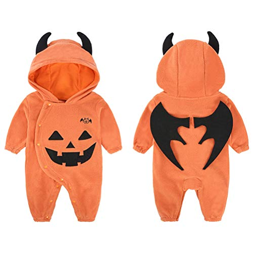 95CM Newborn Baby Girl Boy Halloween Pumpkin Bodysuit Jumpsuit Hooded Playsuit Romper Overall Outfit wirh Ear and Wings