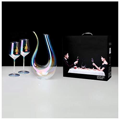 Décanteur, Carafe à Décanter couleur arc-en-ciel avec ensemble de 2 gobelets(530ML) Soufflé à La Main en Verre Cristal Sans Plomb Aérateur de Vin, Pour Bec Verseur, Carafe de Vin Rouge, Vin Cadeau
