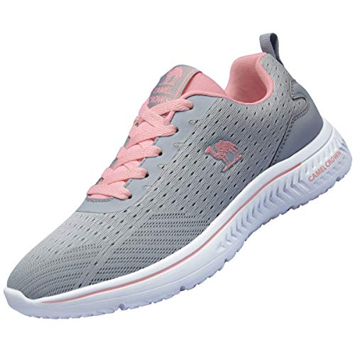 CAMEL CROWN Women Casual Fashion SneakersRunningShoes Lightweight Breathable Sport Athletic Walking Tennis Shoes Grey 7