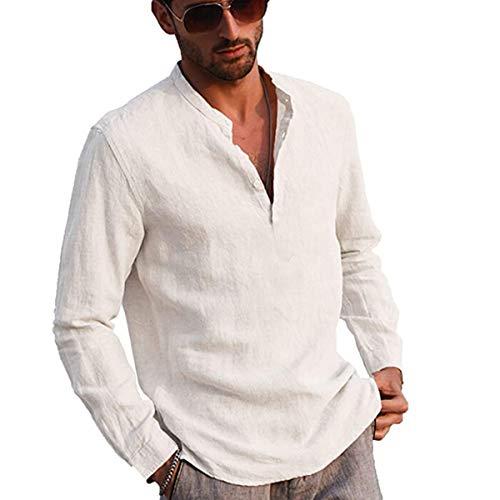 Votuleazi Camicia a Maniche Lunghe da Uomo Camicia in Cotone e Bottone Lino Colletto alla Coreana Elegante Camicia Hippie (Bianco, Medium)